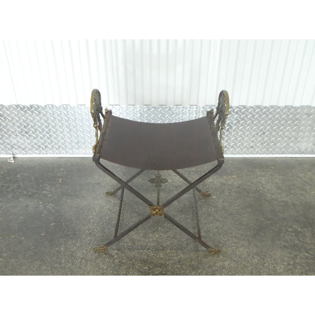 Brown 1920's Oscar Bach Style Mediterranean Iron and Brass Stool For Sale - Image 8 of 8