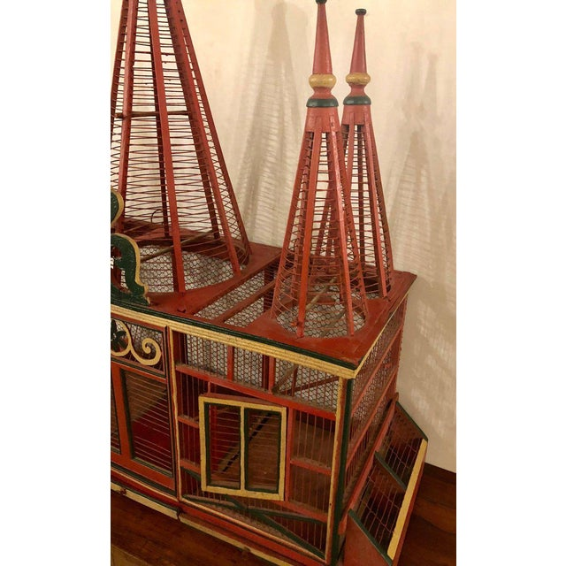 Paint Americana Folk Art Circus Tent Style Original Painted Bird Cage For Sale - Image 7 of 13