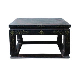 Distressed Black Lacquer Red Graphic Rectangular Wood Stand Display For Sale