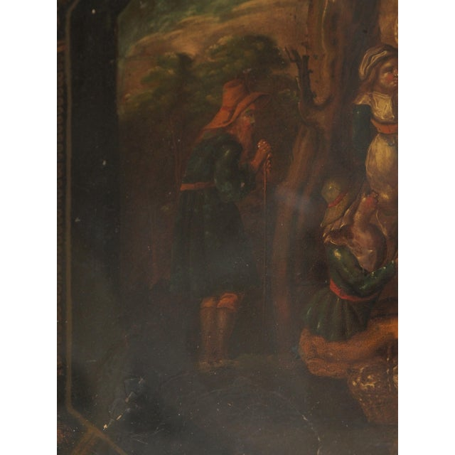 Late 19th Century 19c. Painted Tray as a Coffee Table For Sale - Image 5 of 11