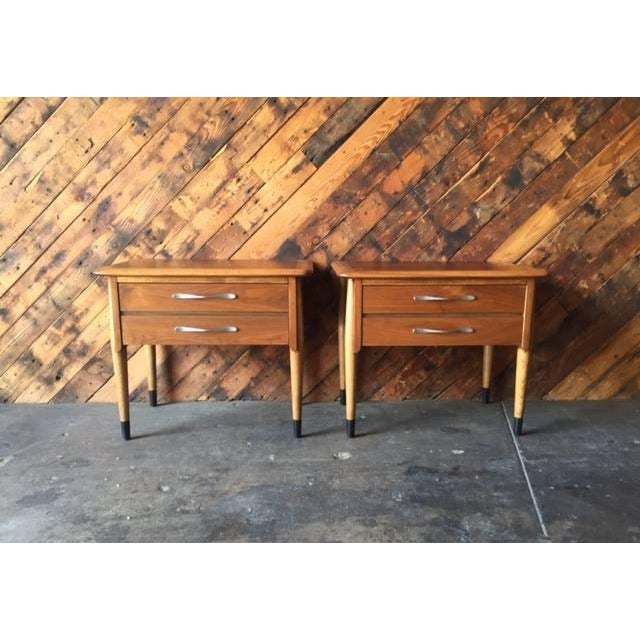 Lane Acclaim Mid-Century Walnut Nightstands - A Pair - Image 2 of 8