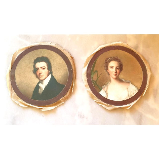 Antique Style Round Portraits of a Gentleman and Lady on Canvas - Set of 2 For Sale - Image 13 of 13