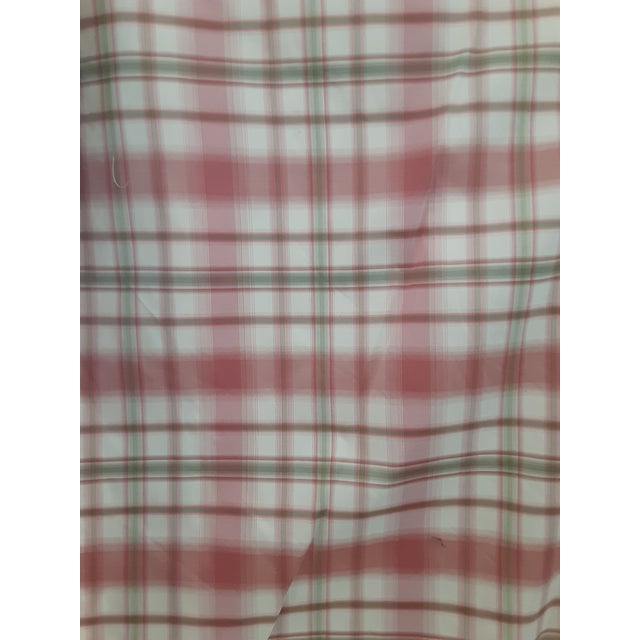 Textile Pindler and Pindler Designer Silk Infused Woven Raspberry Pink and Light Green on Cream Woven Plaid - 10 Yards For Sale - Image 7 of 11
