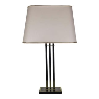 French Modernist Three-Column Brass and Wood Table Lamp For Sale