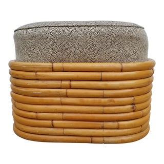 Paul Frankl Style Rattan Ottoman