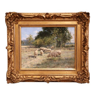19th Century Sheep Painting in Carved Gilt Wood Frame Signed R. L. Johnston For Sale
