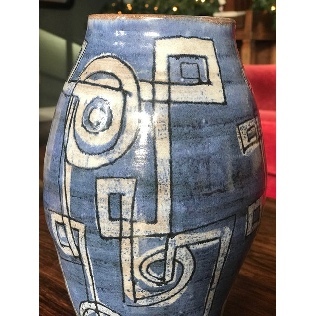 Mid-Century Modern Blue Abstract Ceramic Vase For Sale - Image 4 of 7