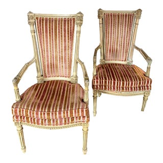 French Vintage Arm Chairs- A Pair For Sale