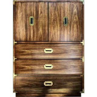 1960s Vintage Bernhardt Mid-Century Modern Campaign Highboy For Sale