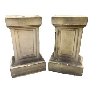 French Cast Stone Garden Pedestals . - a Pair For Sale
