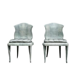 Pair of 1940s French Shagreen Chairs in the Manner of André Groult For Sale