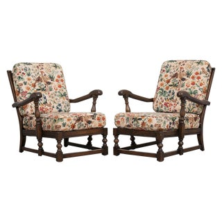 Pair of Vintage French Upholstered Lounge Chairs