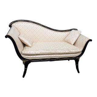 Regency Style Ebonized Settee For Sale