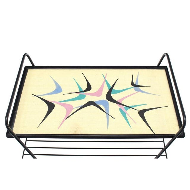 Abstract Design Glass Top Wire Shelf Mid-Century Modern Side Table Tray For Sale In New York - Image 6 of 7