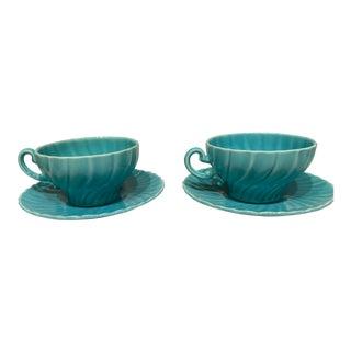 Vintage Turquoise Teacups - A Pair