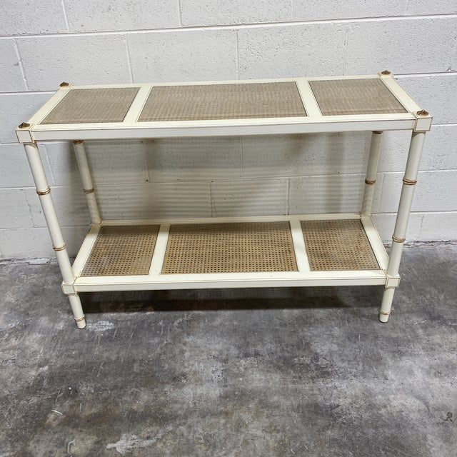 Vintage Off White and Gold Leaf Two Tier Console With Wicker Panels For Sale - Image 12 of 12