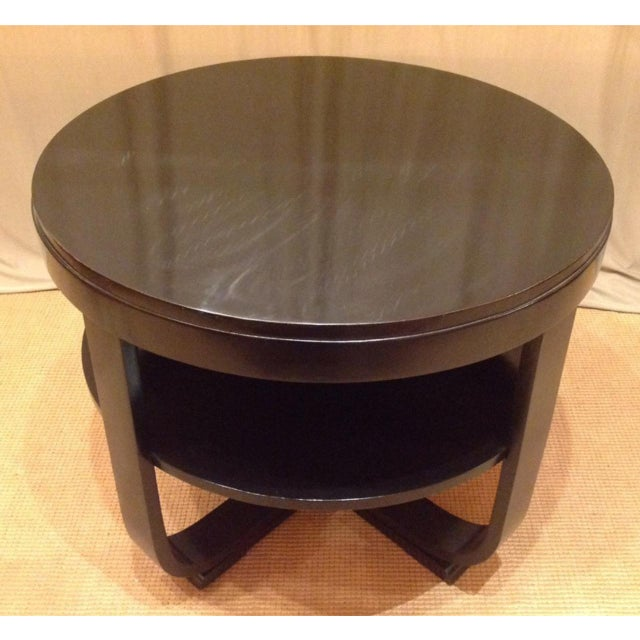 Early 20th Century Black Lacquered Round Art Deco Table For Sale - Image 5 of 7