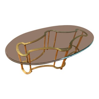1960s Vintage Mastercraft Brass & Glass Racetrack Coffee Table For Sale