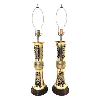 Tall Vintage Arabian Mounted Brass Side Table or Console Lamps - a Persian Pair For Sale