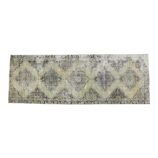 1950's Vintage Turkish Hand-Knotted Distressed Runner Rug - 4′4″ × 12′ For Sale