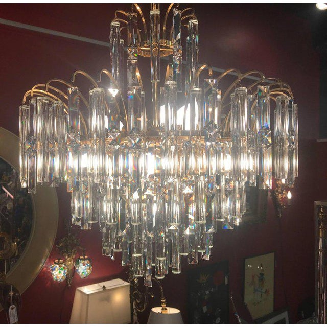 Glass Vintage Crystal and Gold Plated Mid-Century Modern Chandelier For Sale - Image 7 of 10