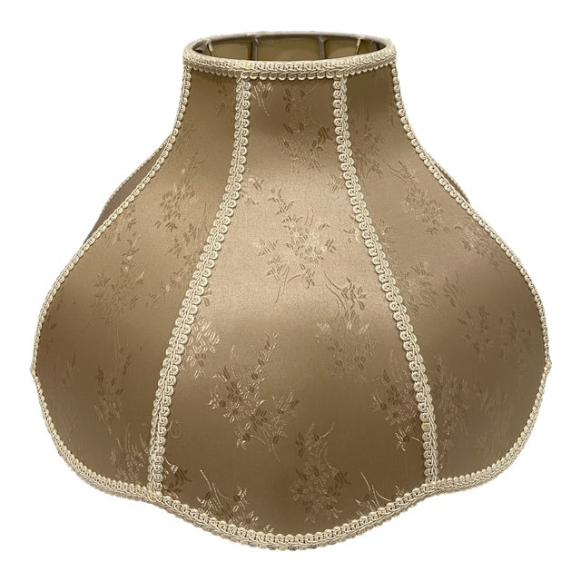 Vintage Asian Floral Large Golden Fabric Lamp Shade For Sale