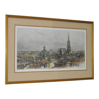 "Luigi Kasimir ""Vienna"" Estate Signed Color Etching C.1940s"