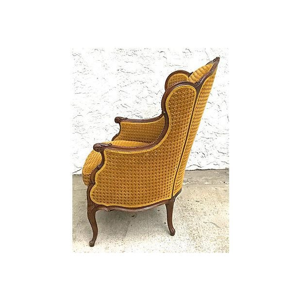 Antique Houndstooth Velvet Fauteuil For Sale - Image 4 of 10