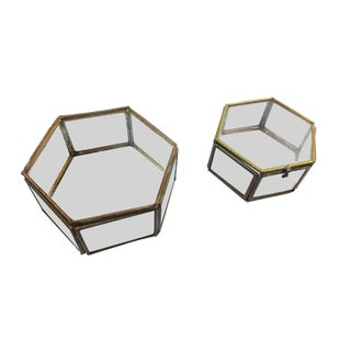 Vintage Mid Century Geometric Hexagon Glass and Brass Display Cases / Boxes - Set of 2