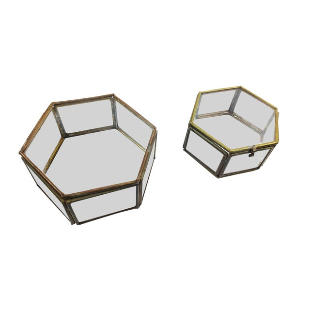 Vintage Mid Century Geometric Hexagon Glass and Brass Display Cases / Boxes - Set of 2 For Sale