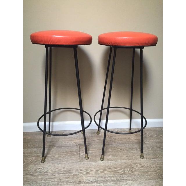 Orange Retro Stiletto Bar Stools - Set of 4 - Image 2 of 10