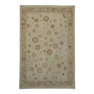 Modern Turkish Oushak Rug with Transitional Style in Muted Light Colors