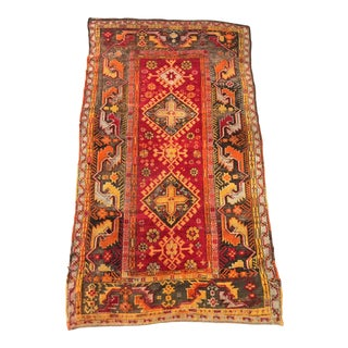 Early 20th Century Antique Wool Rug - 4′2″ × 7′4″ For Sale