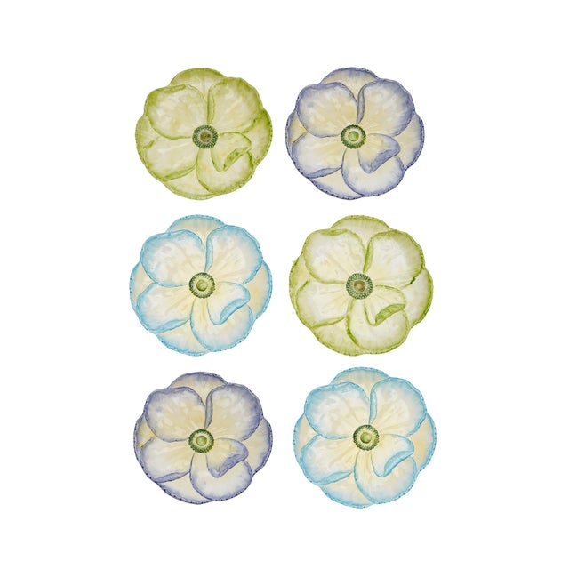 Moda Domus x Chairish Exclusive Dessert Plates in Blue, Purple, and Green - Set of 6 For Sale