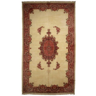 Hand-Knotted Wool Indian Rug - 10′7″ × 21′8″ For Sale