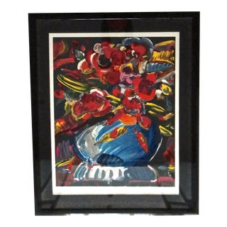 Peter Max Flowers in Blue Vase II Serigraph For Sale