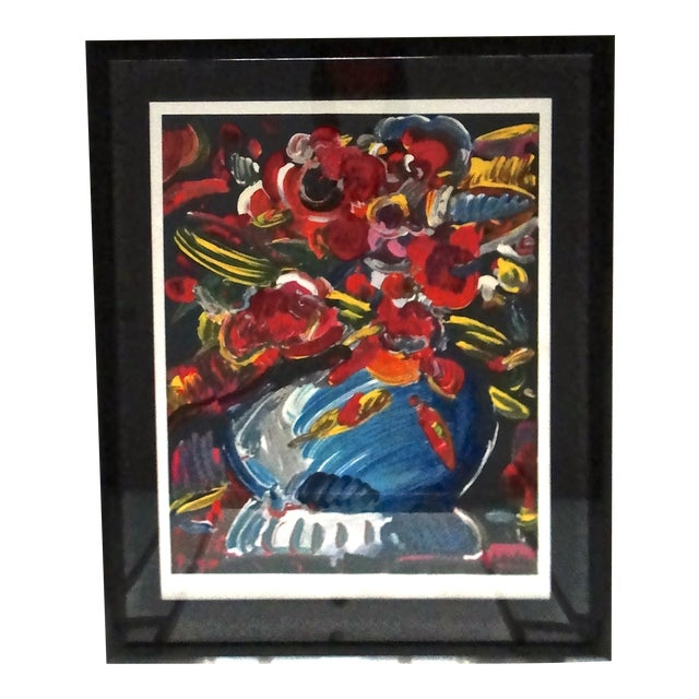 Peter Max Flowers In Blue Vase Ii Serigraph Chairish