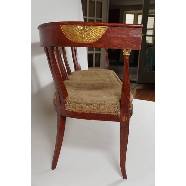 Early 19th Century Italian 'Egyptian' Style Parcel Gilt and Painted Settee, Circa 1805 For Sale - Image 5 of 11