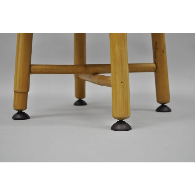 Vintage Green Vinyl Bamboo Wood Stool For Sale - Image 4 of 11