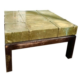 Sarreid Ltd. Patinated Brass & Walnut Coffee Table For Sale