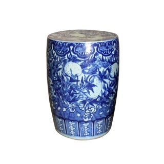Chinese Round Peach Flower Blue White Porcelain Stool Table For Sale