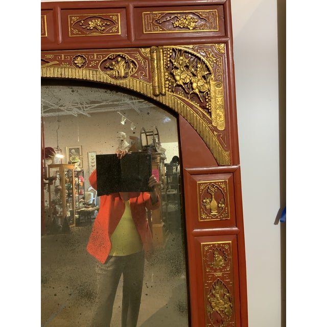 Chinoiserie Vintage Chinoiserie Surround on Antiqued Mirror For Sale - Image 3 of 7