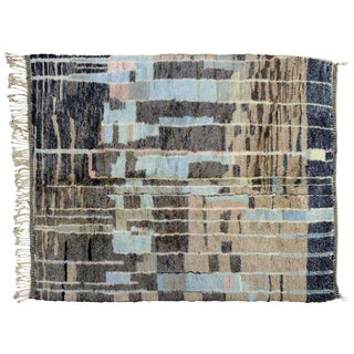 Gray and Blue Moroccan Berber Rug - 8′10″ × 11′4″
