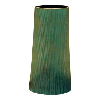 Ribbed Patina Vase For Sale