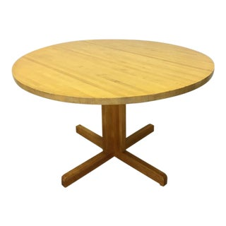 Mid Century Eastern Butcher Block Round Pedestal Table For Sale