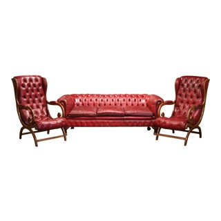 Large Midcentury Three-Piece English Chesterfield Set with Armchairs and Sofa