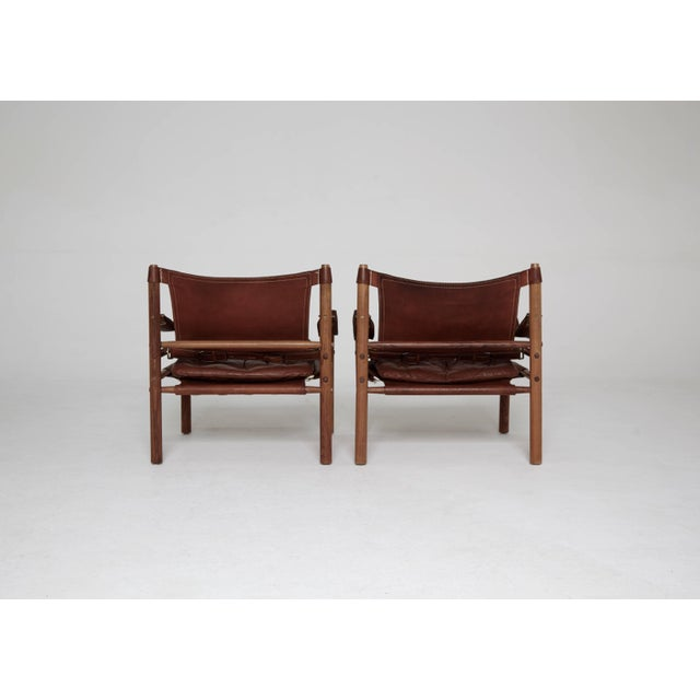Mid 20th Century Arne Norell Rosewood and Brown Leather Safari Sirocco Chairs, Sweden, 1960s For Sale - Image 5 of 9