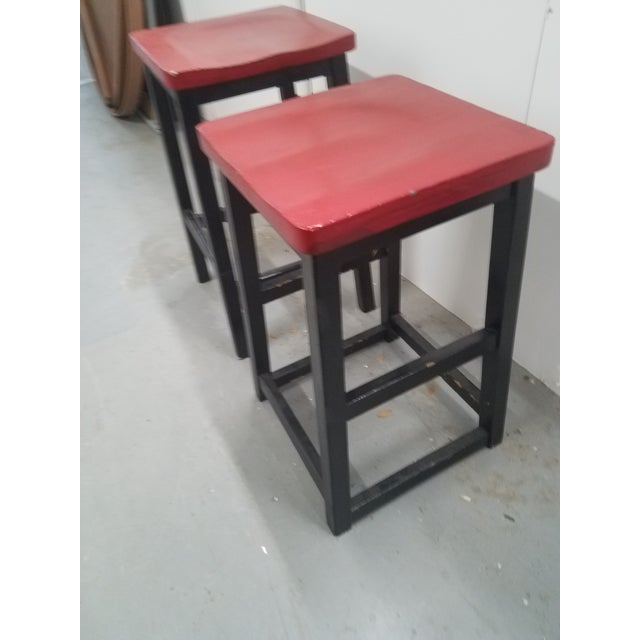 Two Vintage English Wooden Stools With Red Tops For Sale - Image 4 of 13