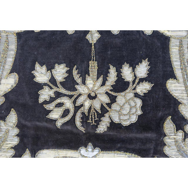 Italian 19th Century Italian Gold and Silver Metallic Appliqued Textile For Sale - Image 3 of 6