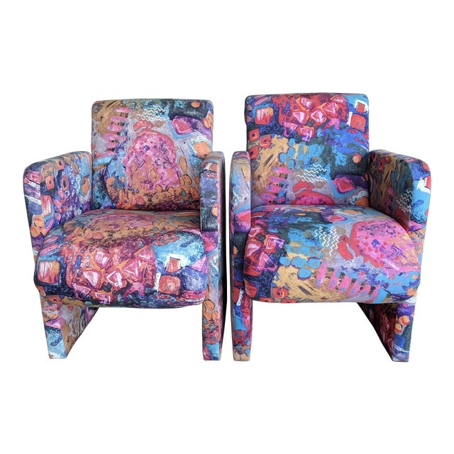 1980s Contemporary Colorful Modernist Chairs, a Pair For Sale